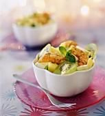 Mediterranean prawns and fruit salad