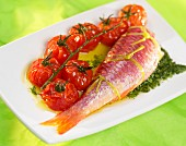 red mullet with cherry tomatoes