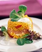 rice and tuna timbale with fresh cream sauce