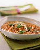split pea and lentil soup with coriander