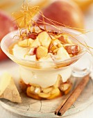 caramelized soy cream and fruits