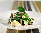cauliflower, spinach and mackerel fillet salad with dressing