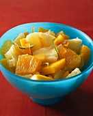 Pineapple, orange, mango and lime fruit salad