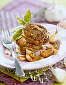 Caramelized lamb with preserved garlic