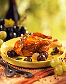Roast quail with grapes