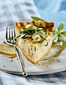 Salmon and courgette tart
