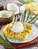 Portion of mango pie with coconut ice cream