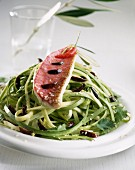 Courgette spaghettis with red mullet fillet