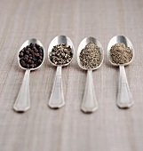 Different forms of black pepper