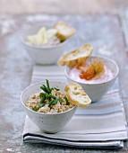 Tuna rillettes with chives and salmon tarama