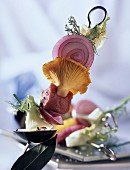Lamb and Chanterelle mushroom kebab