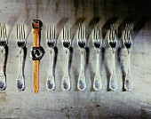 line of forks plus swatch watch