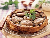 Button mushroom and shallot tatin tart