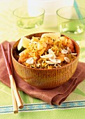 Sauteed rice with prawns and lemongrass