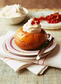 Rum Baba with whipped cream
