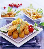Breaded fish fingers