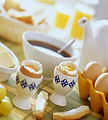 Breakfast with boiled eggs and coffee