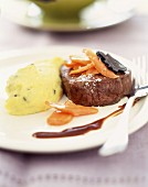 Ostrich steak with truffled mashed potatoes