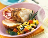 Roast monkfish with pancetta and ratatouille