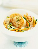 Pan-fried scallops with vegetable tagliatelles