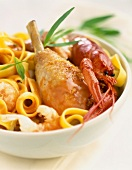 Poultry with crawfish and tagliatelle