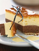 Chocolate and vanilla Bavarian cream dessert