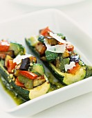 Zucchinis stuffed with southern vegetables and parmesan