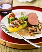 Noisette fillet of lamb with mushrooms