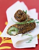 Crunchy breaded leek and Mascarpone rolls