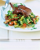 Roast duck Aiguillettes with braised cabbage