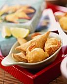 Samosas and prawn fritters