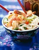 Mediterranean prawns with noodles and coconut milk