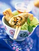 Chicken and vegetable Thai nem
