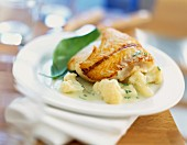 Haddock fillet with basil cream