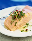 Slab of salmon with lemon