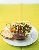 Summer vegetables marinated in lemon and herbs and grilled