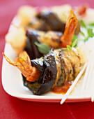prawn and eggplant rolls