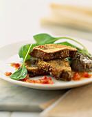 Breaded foie gras escalopes