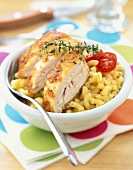 Roast chicken with pasta shells