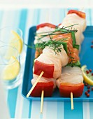 Raw fish kebabs
