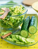 Cucumber and frizzy lettuce
