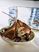 Lamb chops with stewed fennel