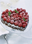 chocolate heart with raspberries