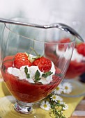 Strawberry purée with faisselle