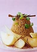 Chocolate semolina with pears and vanilla