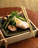Steam-cooked cod with ginger and shiitake