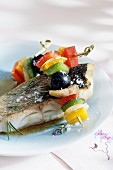 Bass and vegetable skewers