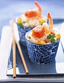 Cantonese rice with salmon and prawns