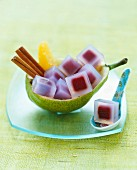 Cubes of pears with red wine in sake jelly