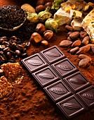 Chocolate bar,nougatand a selection of nuts